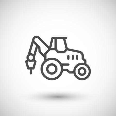 産業用トラクター ライン アイコンがグレーに分離されました。図