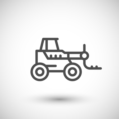 telescopic: Forklift telescopic loader line icon isolated on grey. illustration Illustration