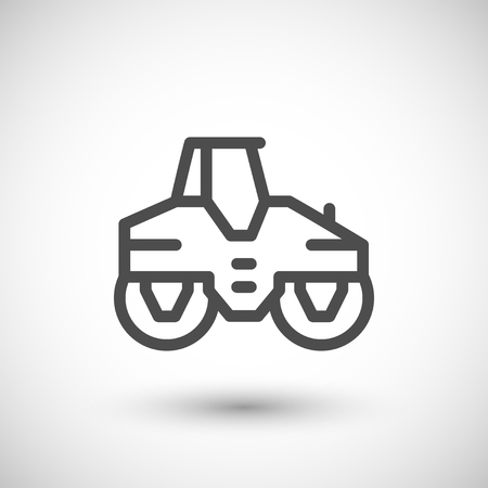 paving: Road roller line icon isolated on grey. illustration Illustration