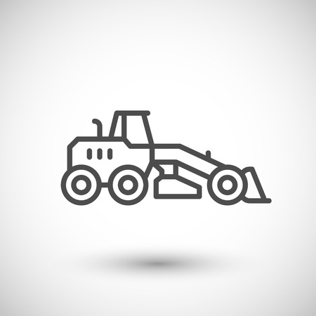 road grader: Road grader line icon isolated on grey. illustration