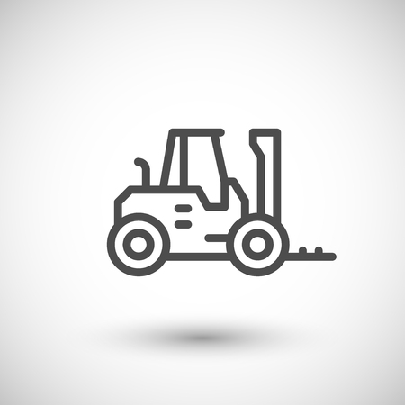 front raise: Forklift loader line icon isolated on grey. illustration