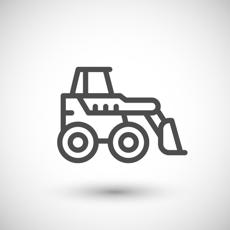 excavate: Mini earth mover line icon isolated on grey. illustration Illustration