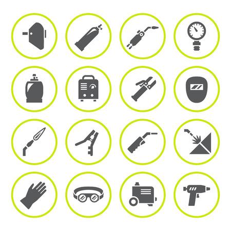 Set ronde iconen van het lassen op wit wordt geïsoleerd. illustratie Stock Illustratie