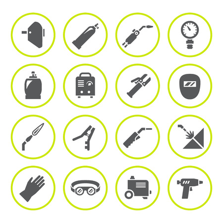 gas: Set round icons of welding isolated on white. illustration