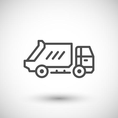 camion à ordures icône de la ligne isolé sur gris. illustration