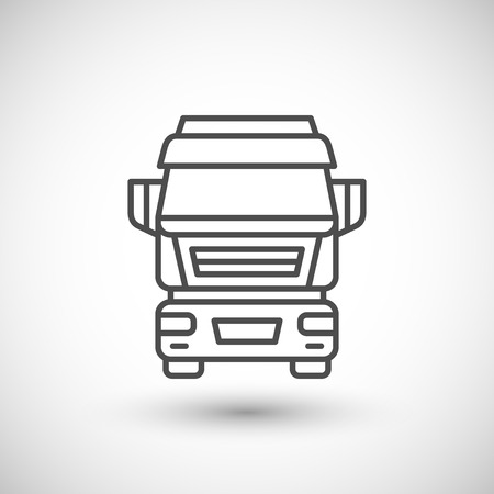 industrial vehicle: Commercial truck line icon isolated on white. illustration Illustration