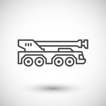 heavy vehicle: Heavy mobile crane line icon isolated on grey. illustration