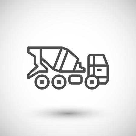 concrete mixer truck: Concrete mixer truck icon isolated on grey. illustration Illustration