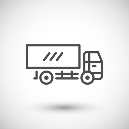 grey line: Van line icon isolated on grey. illustration
