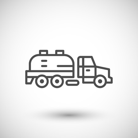 Sewage truck line icon isolated on grey. illustration