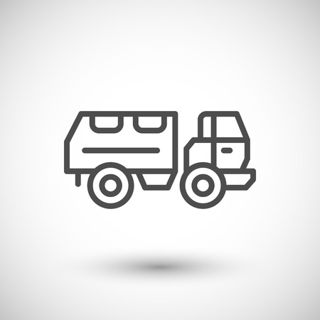 armoured: Military truck line icon isolated on grey. illustration Illustration