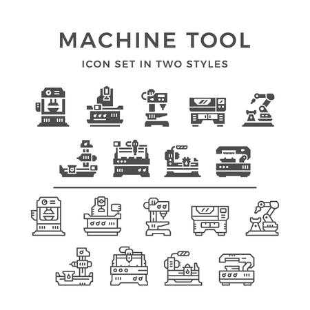 Fije los iconos de la máquina-herramienta en dos estilos aislados en blanco. ilustración