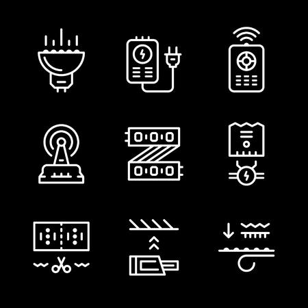 light emitting diode: Set line icons of LED equipment isolated on black. illustration Illustration