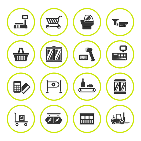 retail equipment: Set round icons of retail equipment isolated on white. illustration