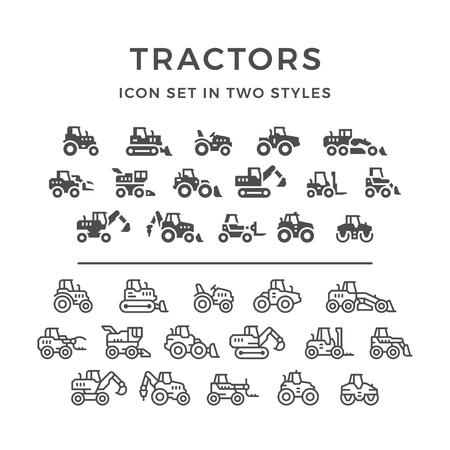 Set line icons of tractors, farm and buildings machines, construction vehicles in two styles isolated on white. illustration Vettoriali
