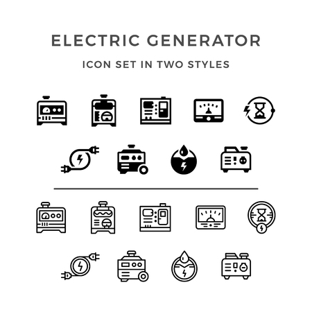 standby: Set icons of electrical generator in two styles isolated on white. illustration