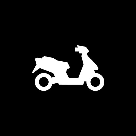moped: Modern scooter icon isolated on black.  illustration Illustration