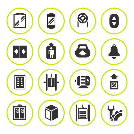 technological: Set round icons of elevator and lift isolated on white. Vector illustration