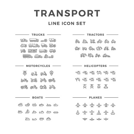 Set line icons of transport isolated on white. Vector illustration Vettoriali
