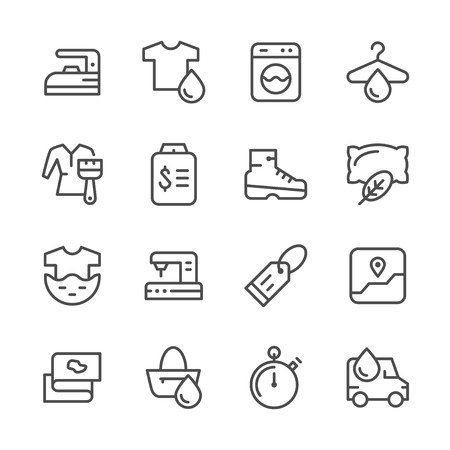 bleach: Set line icons of laundry isolated on white. Vector illustration Illustration