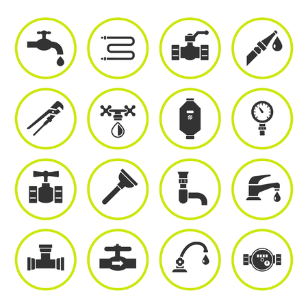 siphon: Set round icons of plumbing isolated on white. Vector illustration