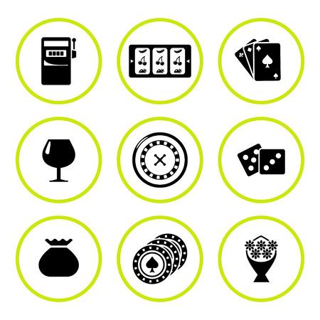 cherries isolated: Set round icons of casino isolated on white. Vector illustration Illustration