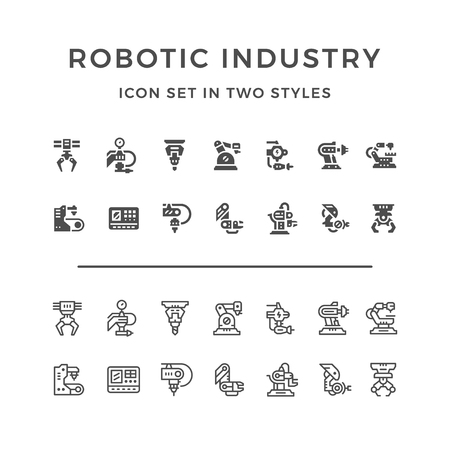 lathe: Set icons of robotic industry in two styles isolated on white. Vector illustration