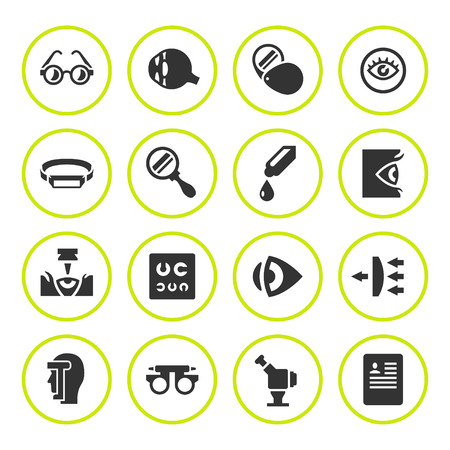 see: Set round icons of ophthalmology and optometry isolated on white. Vector illustration