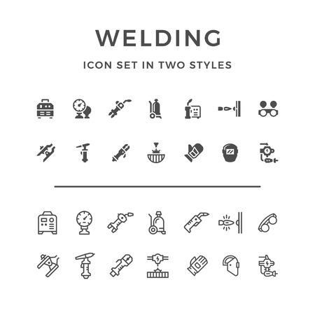 Set pictogrammen van lassen in twee stijlen geïsoleerd op wit. Vector illustratie