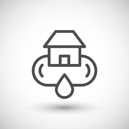 water supply: Home water supply system line icon isolated on grey. Vector illustration Illustration
