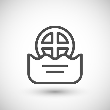 grey water: Water drain line icon isolated on grey. Vector illustration Illustration