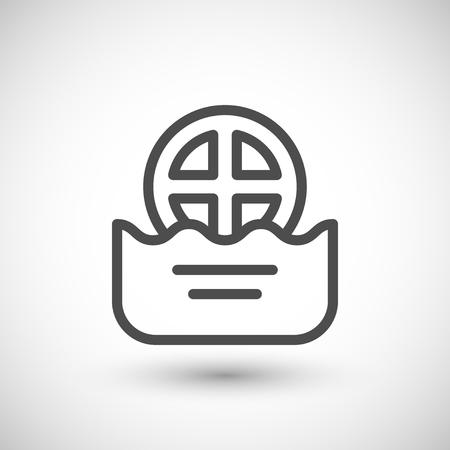 drain: Water drain line icon isolated on grey. Vector illustration Illustration