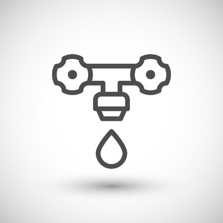 grey line: Faucet line icon isolated on grey. Vector illustration