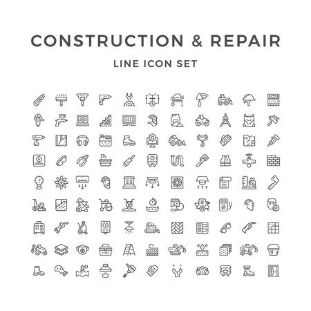 建設や修理は、白で隔離の線のアイコンを設定します。ベクトル図
