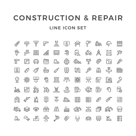 Set line icons of construction and repair isolated on white. Vector illustration