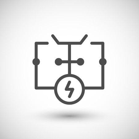 grey line: Electrical scheme line icon isolated on grey. Vector illustration Illustration