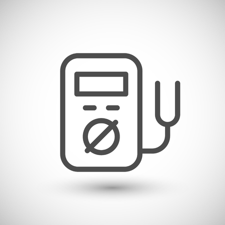 ammeter: Electronic multimeter line icon isolated on grey. Vector illustration