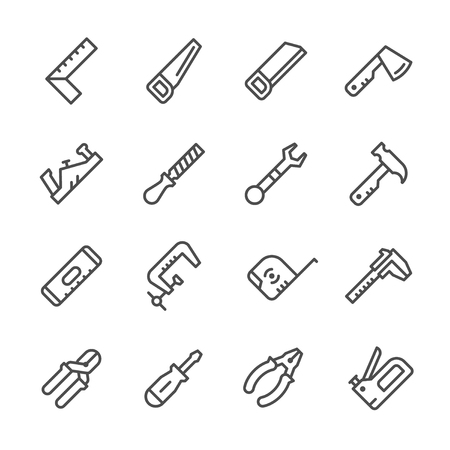 hand tool: Set line icons of hand tool isolated on white. Vector illustration