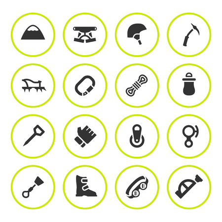 crampons: Set round icons of mountaineering isolated on white. Vector illustration