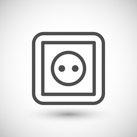 grey line: Socket line icon isolated on grey. Vector illustration
