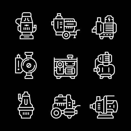 sewage treatment plant: Set line icons of water pump isolated on black. Vector illustration