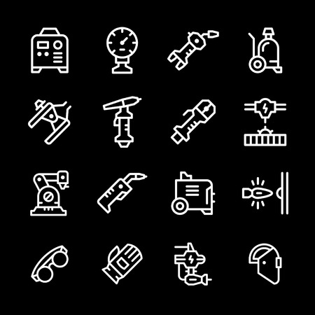 Set line icons of welding isolated on black.  illustration