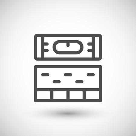 leveling: Building level line icon isolated on grey. Vector illustration