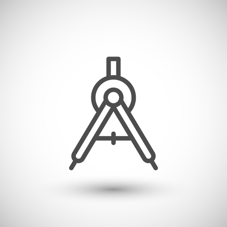 grey line: Compass line icon isolated on grey. Vector illustration
