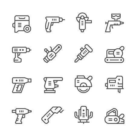 sander: Set line icons of electric tools isolated on white. Vector illustration Illustration