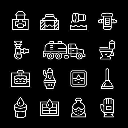 tanks: Set line icons of sewerage isolated on black. Vector illustration