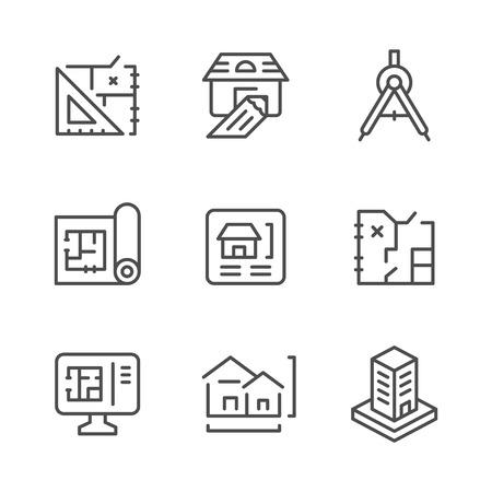 Metta le icone al tratto di architettonico isolato su bianco. illustrazione Archivio Fotografico - 68351091