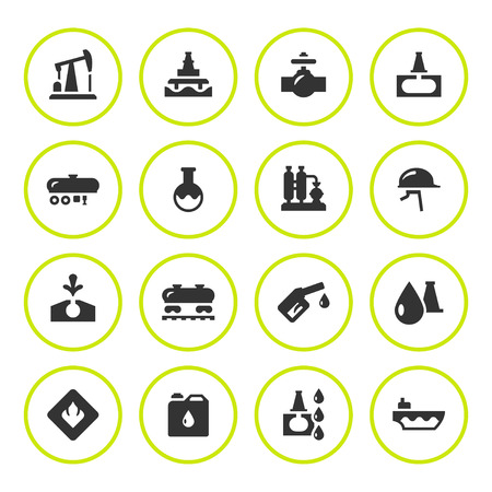 illustration industry: Set round icons of oil industry isolated on white.  illustration