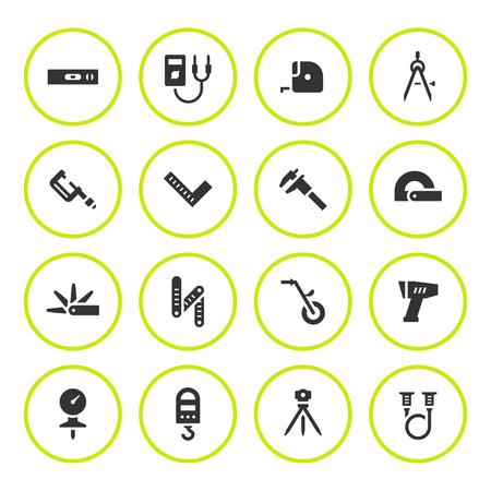 leveling: Set round icons of measuring tools isolated on white.  illustration Illustration