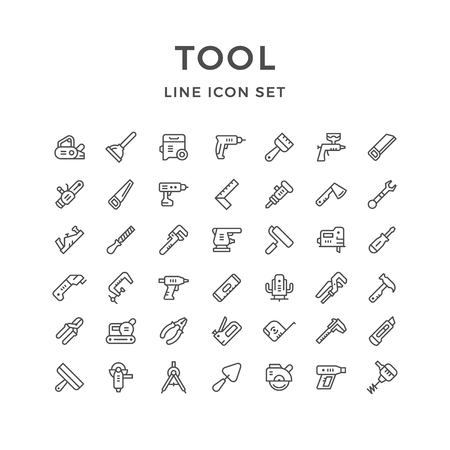sander: Set line icons of tool isolated on white. Vector illustration